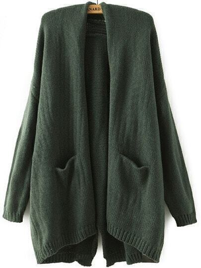 With Pockets Split-Back Green Cardigan