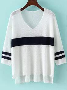 V Neck Striped Dip Hem White Sweater