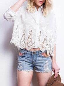 White Long Sleeve With Lace Blouse