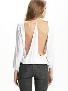 White Long Sleeve Unique Backless T-Shirt
