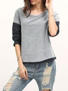 Grey Long Sleeve Color Block Sweatshirt
