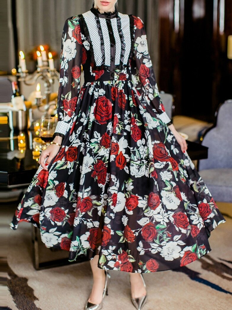 Black Round Neck Long Sleeve Rose Print Dress