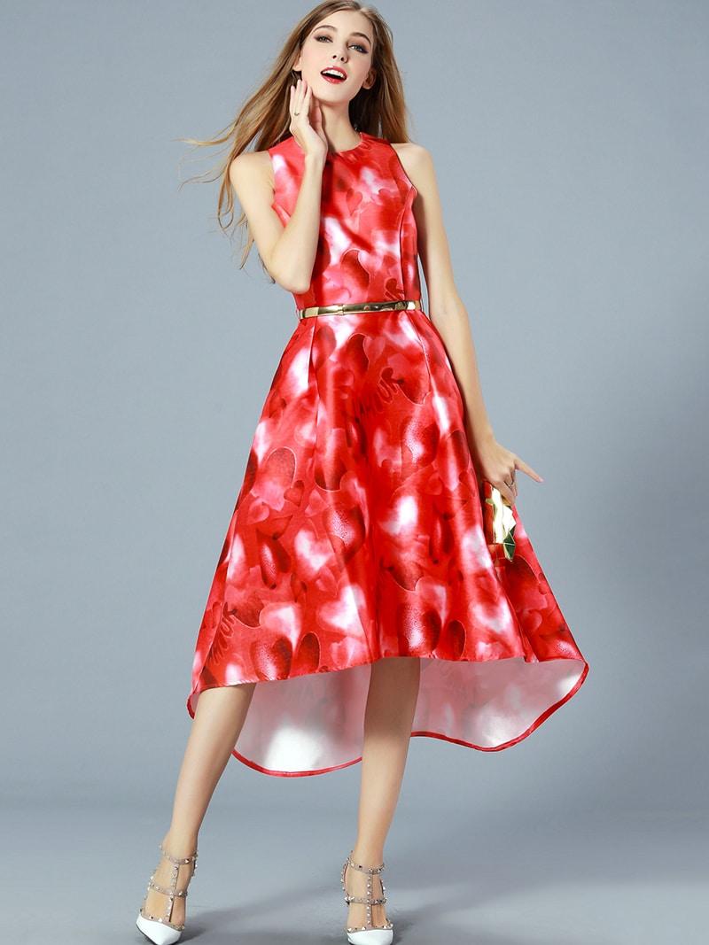 Red Round Neck Sleeveless Drawstring Print High Low Dress