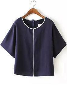 Contrast Edge Navy Top