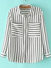Lapel With Pockets Vertical Striped Blouse