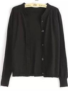 With Buttons Knit Black Cardigan