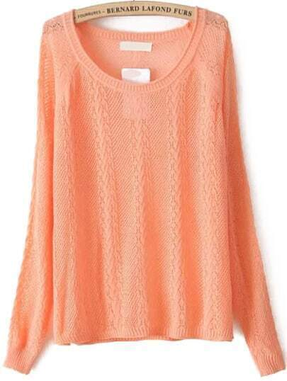 Cable Knit Hollow Orange Sweater