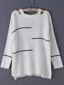 Striped Open Shoulder Knit White Sweater