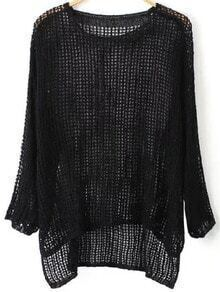 Dip Hem Hollow Black Sweater