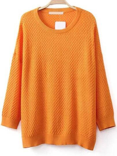 Round Neck Loose Orange Sweater