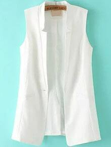 V Cut Single Button White Vest