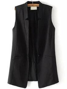 V Cut Single Button Black Vest