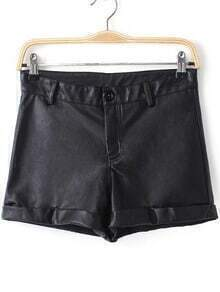 High Waist Cuffed PU Shorts