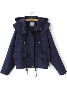 Hooded Drawstring With Pockets Navy Coat -SheIn(Sheinside)