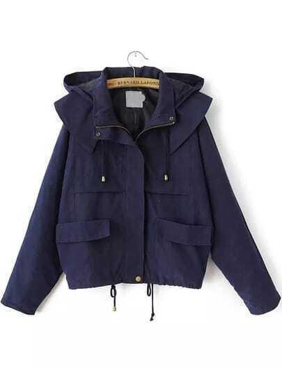 Hooded Drawstring With Pockets Navy Coat