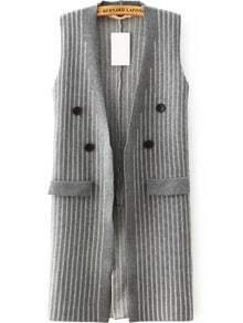 Vertical Striped Knit Grey Vest