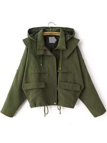 Hooded Drawstring With Pockets Army Green Coat