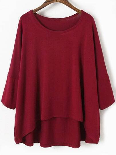 Dip Hem Bat Sleeve Wine Red T-shirt