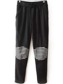 Drawstring Contrast Striped Pockets Pant