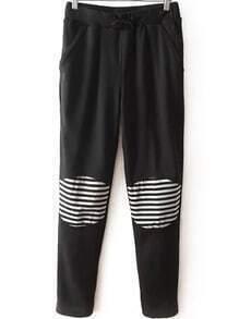 Drawstring Contrast Striped Pockets Pant
