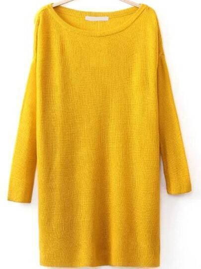 Round Neck Split Yellow Sweater