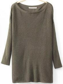 Round Neck Split Dark Green Sweater