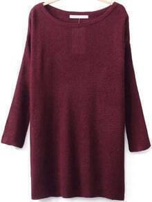 Round Neck Split Maroon Sweater
