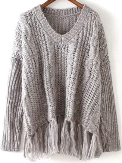 V Neck With Tassel Sweater