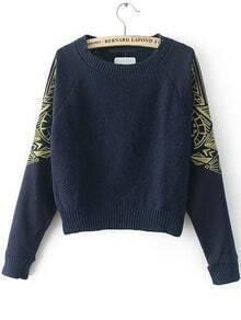 Round Neck Embroidered Navy Sweater