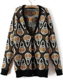 With Buttons Skull Print Cardigan