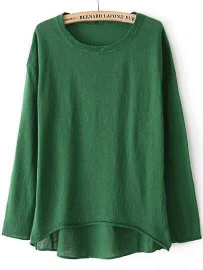 Dip Hem Knit Green Sweater