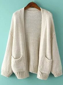 Puff Sleeve With Pockets Apricot Cardigan