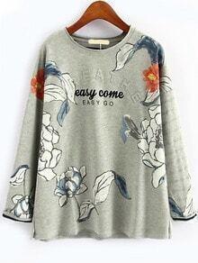 Ink Flower Print Sweatshirt