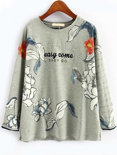 Ink Flower Print Sweatshirt