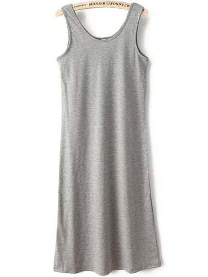 Scoop Neck House Sleeveless Grey Dress