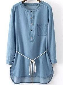 With Cowgirls Pocket Self-Tie Denim Dress