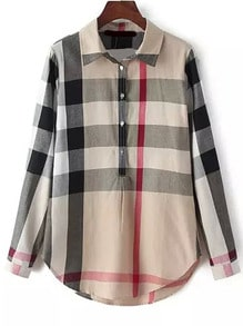 Lapel Plaid Loose Blouse