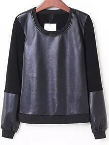 Black Round Neck Contrast PU Leather Sweatshirt