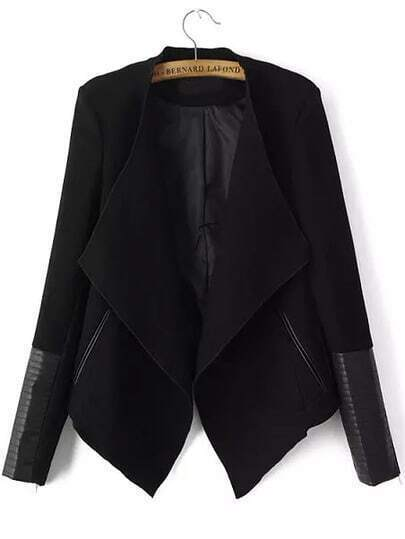 Black Long Sleeve Contrast PU Leather Zipper Coat