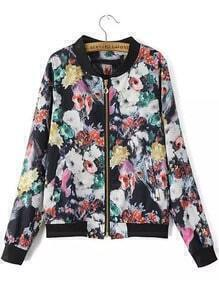 Multicolor Stand Collar Floral Zipper Jacket