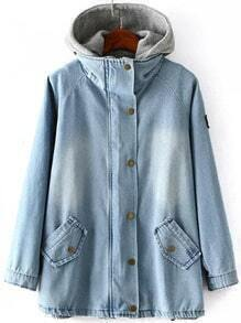 Blue Hooded Bleached Denim Two Pieces Coat