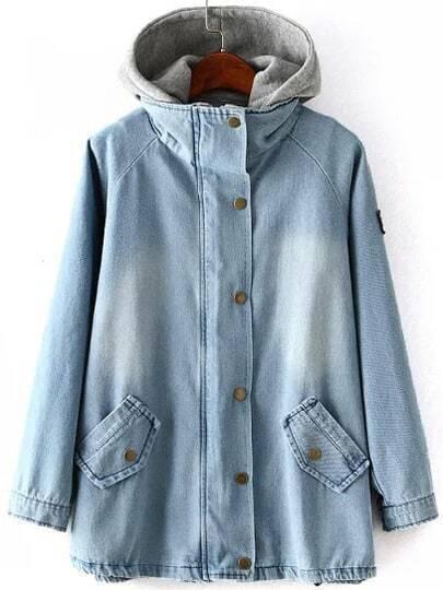 Blue Hooded Bleached Denim Boyfriend Trends Jean Swish Two Pieces Coat