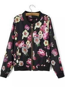 Multicolor Stand Collar Zipper Floral Jacket