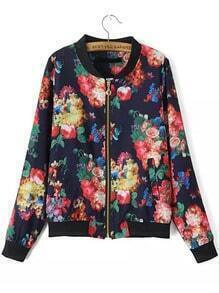 Multicolor Stand Collar Rose Print Zipper Jacket
