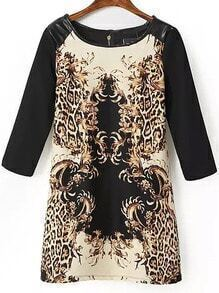 Black Yellow Contrast PU Leather Leopard Dress