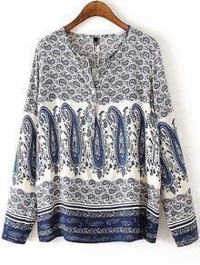 Blue White Round Neck Cashew Print Blouse