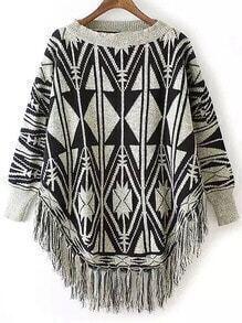 Black Grey Round Neck Geometric Print Tassel Sweater