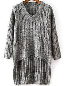 Grey V Neck Tassel Cable Knit Sweater