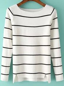 White Round Neck Striped Slim Knit Sweater