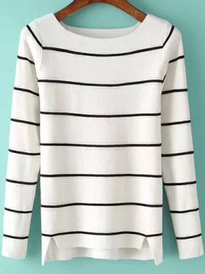 White Round Neck Striped Slim Knit Sweater